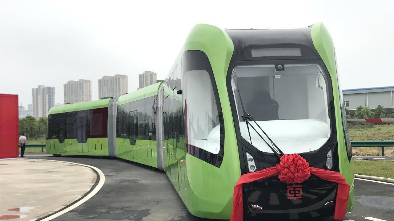 ВКитайской народной республике  запустили 1-ый  вмире беспилотный трамвай