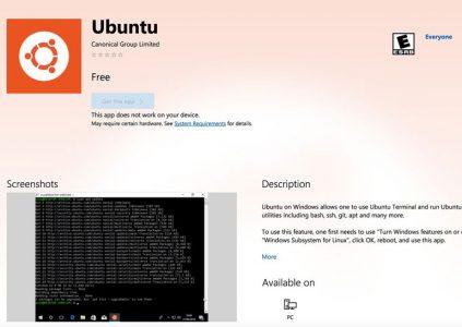 Дистрибутив Ubuntu стал доступным в Windows Store для Windows 10