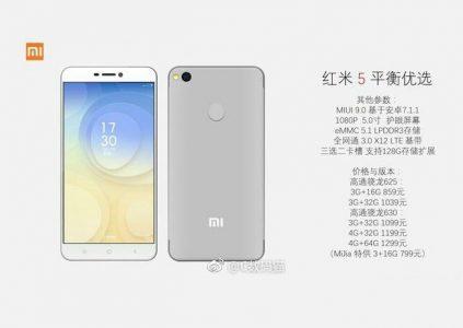 В сеть попали подробные технические характеристики и цены различных вариантов нового смартфона Xiaomi Redmi 5