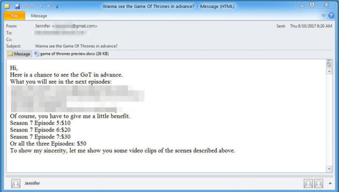 """«Хочешь увидеть """"Игру престолов"""" раньше всех?»: Хакеры использовали спойлеры сериала для распространения вирусов через спам"""