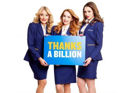 Лоукостер Ryanair стал первой европейской авиакомпанией, которая перевезла 1 миллиард пассажиров