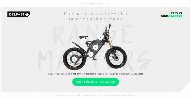 Украинский электробайк DelFast eBike с запасом хода 380 км послезавтра начинает сбор средств на Kickstarter, первым бэкерам обещают 60% скидку