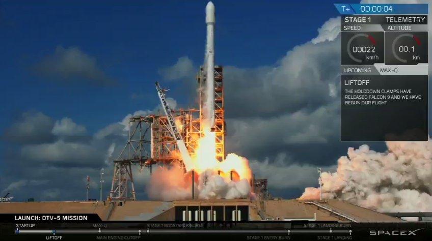 SpaceX впервые запустила засекреченный беспилотник X-37B для ВВС США и посадила первую ступень на наземную площадку