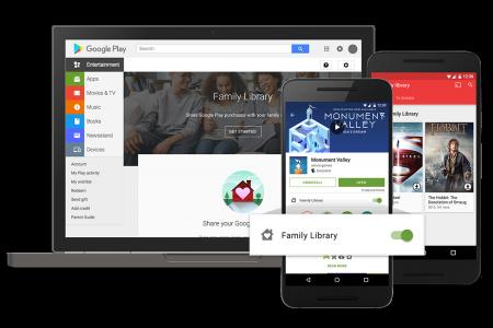 В Украине заработали семейные группы Google Play Family Library с доступом к общему контенту