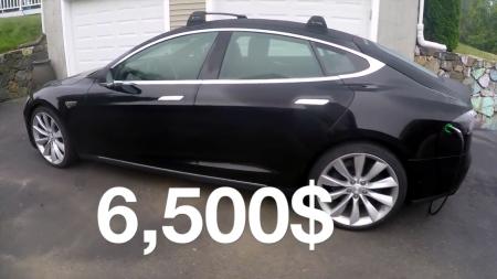 """""""Самая дешевая Tesla в мире"""": Американец собрал электромобиль Tesla Model S из двух """"доноров"""", потратив на весь проект $6,5 тыс. [видео]"""