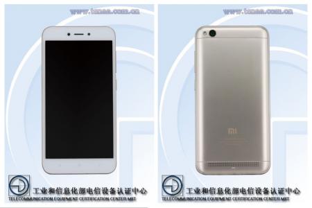 Характеристики и изображения смартфона Xiaomi Redmi 5A опубликованы на сайте TENAA