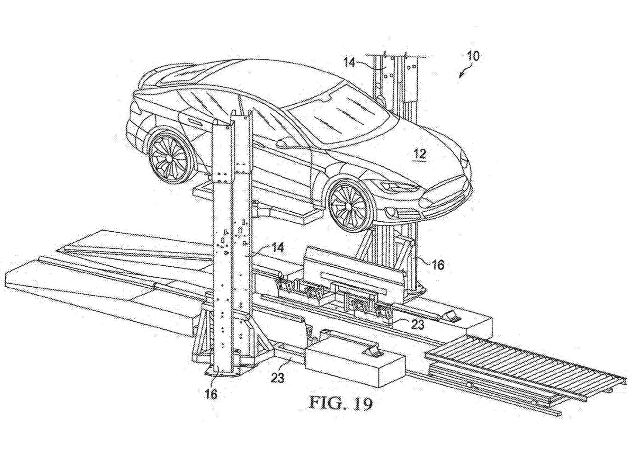 Tesla запатентовала установку, которая за 15 минут меняет разряженный блок батарей электромобиля на заряженный