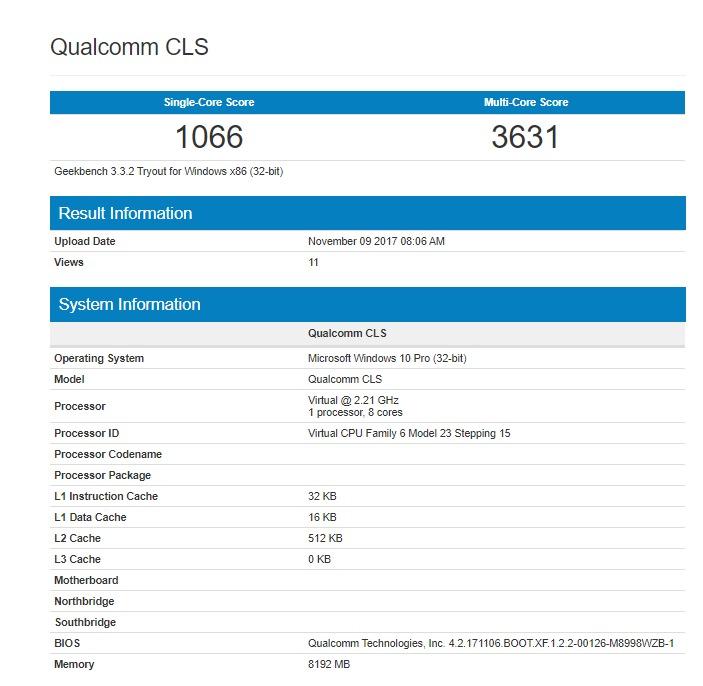 Ноутбуки с SoC Snapdragon 835 и Windows 10: результаты теста Geekbench неизвестной модели и первые данные о 12-дюймовой модели HP
