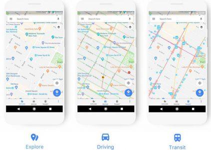 Цветовая схема и вид карт Google Maps теперь зависит от способа перемещения