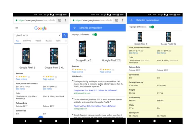 В поиске Google появилась функция сравнения технических характеристик устройств