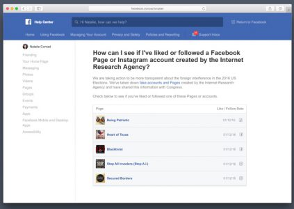 Facebook уведомит пользователей, которые могли пострадать от фейковых российских аккаунтов
