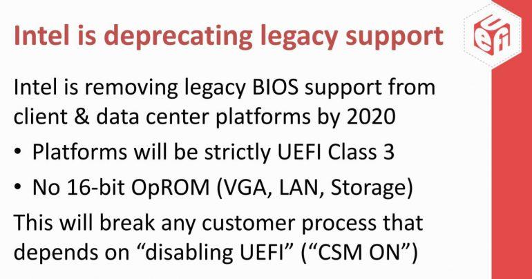 Intel откажется от поддержки Legacy BIOS в UEFI материнских плат с 2020 года