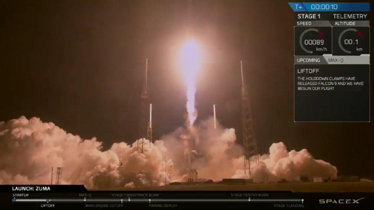 Компания SpaceX запустила ракету-носитель Falcon 9 ссекретным спутником Zu ...