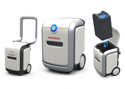 Honda представила экосистему сменных батарей Mobile Power Pack, которые можно использовать в качестве элементов питания для средств передвижения, домашней электроники и т.д.