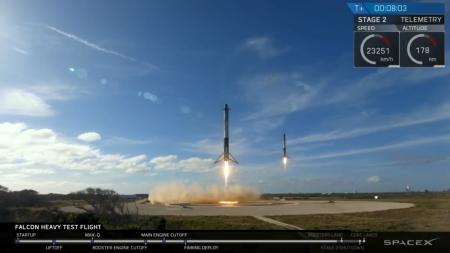 Видеотрансляция: Первый запуск тяжелой ракеты-носителя Falcon Heavy (Завершено)