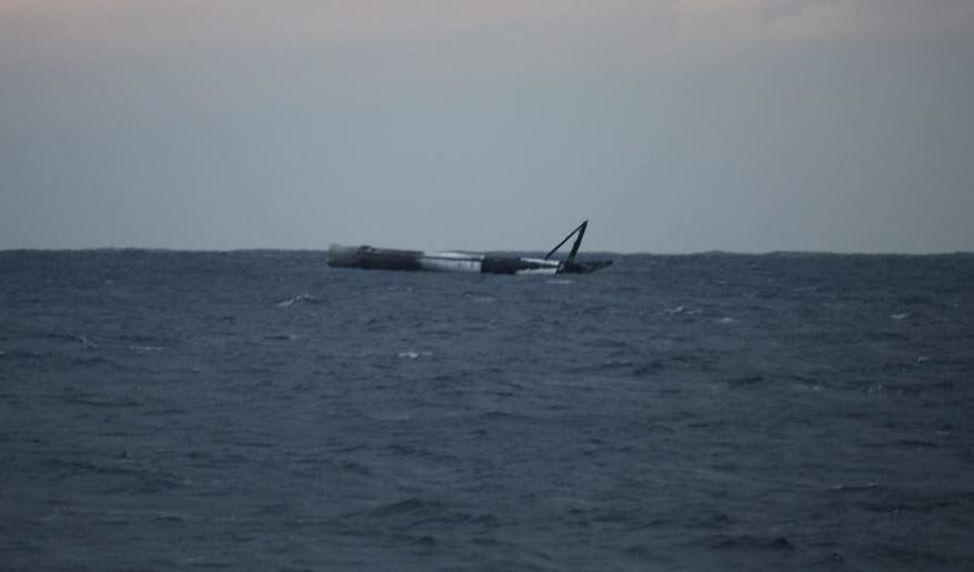 Ракета SpaceX Falcon 9 миссии SES-16/GovSat-1 уцелела после падения в Атлантическом океане