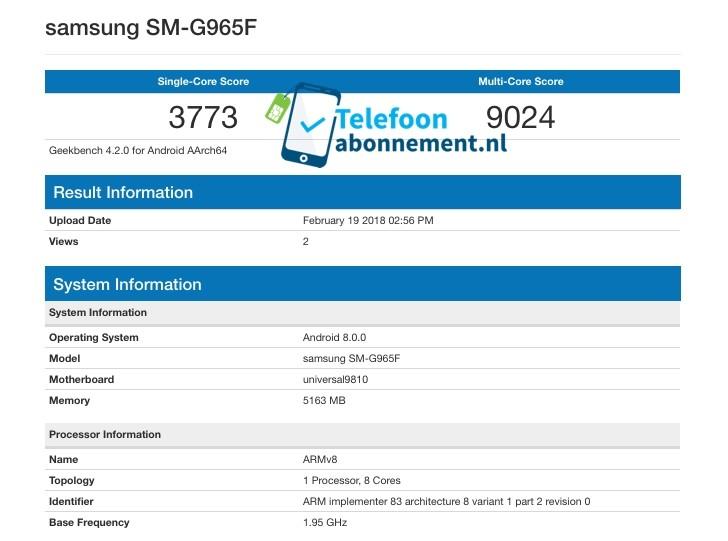 Samsung Galaxy S9: изображения, характеристики, результаты теста GeekBench, дата выхода и цена