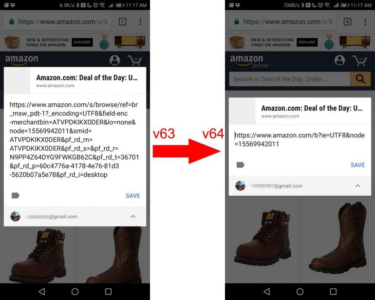 """Мобильный браузер Google Chrome начал автоматически обрезать """"трекинговые"""" окончания URL, которыми пользователь делится с помощью меню Share"""