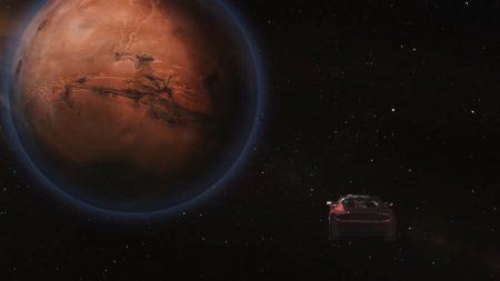 SpaceX показала новую анимацию сегодняшнего запуска Falcon Heavy с летящим <del>сквозь ночь</del> к Марсу вишневым Tesla Roadster