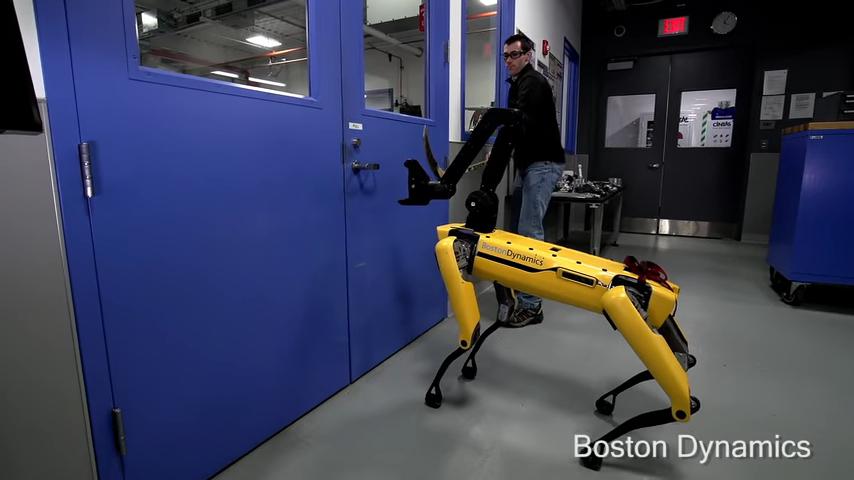 Инженер Boston Dynamics попытался помешать роботу SpotMini покинуть помещение. Ничего не вышло