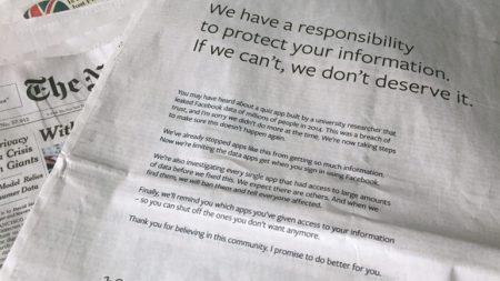 Цукерберг купил полностраничную рекламу во влиятельнейших британских и американских газетах, чтобы извиниться за утечку данных пользователей Facebook. Одно из изданий ответило карикатурой - ITC.ua