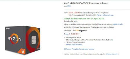 Процессор AMD Ryzen 5 2600X преждевременно появился на сайте Amazon, другие интернет-магазины уже принимают предзаказы на новые CPU AMD Ryzen (Pinnacle Ridge)