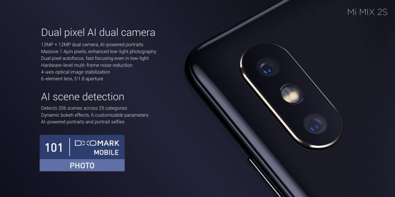 Представлен смартфон Xiaomi Mi Mix 2s со сдвоенной основной камерой, получивший 101 балл в фототесте DxOMark