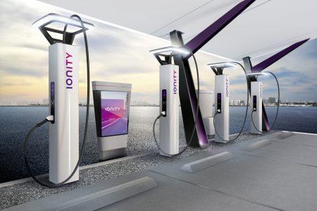 Будущая европейская сеть скоростных зарядок для электромобилей IONITY показала футуристический дизайн своих зарядных станций [видео]