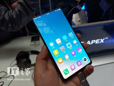 В Китае официально представили безрамочный смартфон Vivo APEX с фронтальной камерой-перископом и встроенным сканером отпечатков размером в пол-экрана