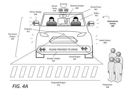 Uber предлагает оснащать самоуправляемые автомобили дисплеями и проекторами для взаимодействия с пешеходами