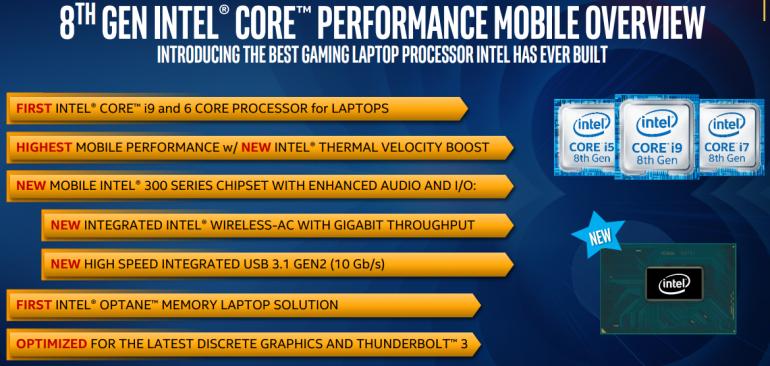 Intel анонсировала 6-ядерный мобильный процессор Core i9 8-го поколения с Turbo частотой 4,8 ГГц