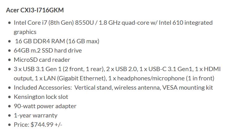 Acer открыла предзаказ и объявила характеристики нового хромбокса Chromebox CXI3, цены на устройство стартуют с $299