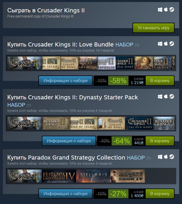 На Steam бесплатно раздают стратегию Crusader Kings II и предлагают скидки на DLC к ней