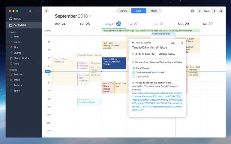 Почтовое приложение Spark от украинских разработчиков получило ряд функций для коллективной работы и собственный календарь
