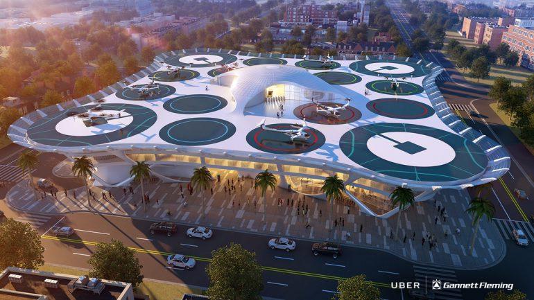 """Uber продемонстрировала шесть вариантов """"скайпортов"""" для своих будущих электрических летающих такси"""