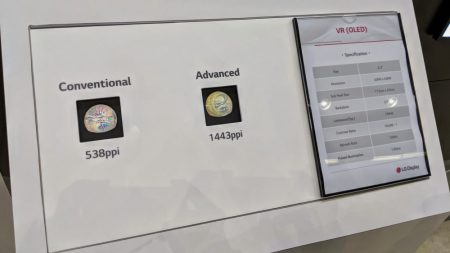 Google и LG показали OLED дисплей для VR-гарнитур с рекордно высокими значениями разрешения и плотности пикселей