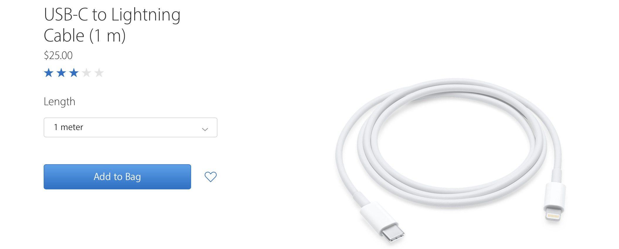 Apple снизила цену метрового кабеля с разъемами Lightning и USB-C с $25 до $19