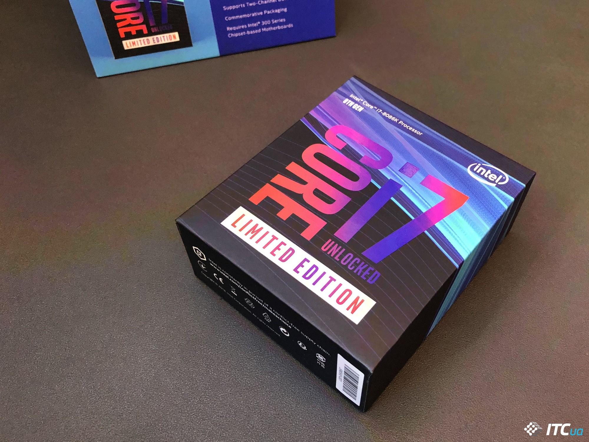 ee7107bfa6b9 Шестиядерный Core i7-8086K был представлен Intel по случаю 40-летнего  юбилея процессора 8086. Чип функционально ничем не отличается от топовой  модели Core ...