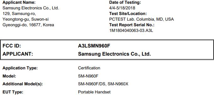 Samsung Galaxy Note9 уже прошёл сертификацию в FCC, анонс ожидается 9 августа