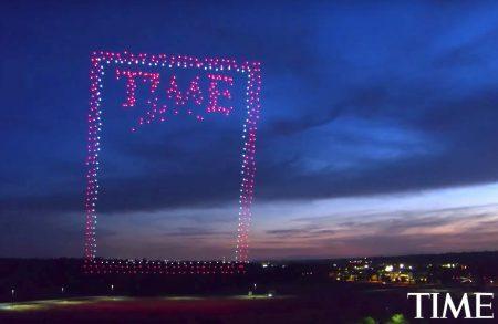 Почти 1000 дронов Intel сформировали изображение для обложки журнала Time