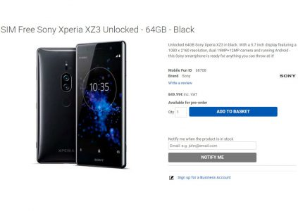 Онлайн-магазин раскрыл характеристики и цену смартфона Sony Xperia XZ3