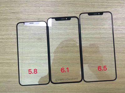 Инсайдер опубликовал фото с лицевыми панелями всех трех новых смартфонов Apple iPhone. У младшей модели рамки будут шире, но ненамного