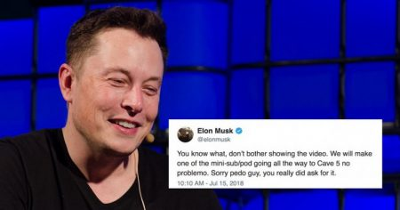 В ответ на критику мини-субмарины Илон Маск безосновательно обозвал спасателя детей в Таиланде. На фоне этого капитализация Tesla упала на $2 млрд