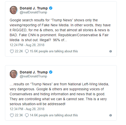 Трамп заявил, что Google фильтрует поисковую выдачу, чтобы показывать о нем только плохие новости. И пообещал разобраться