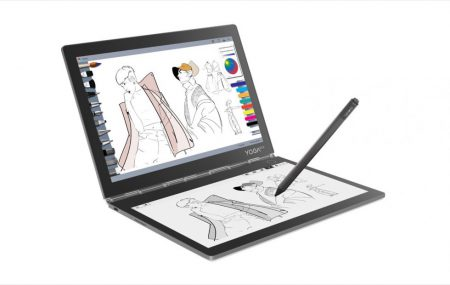 Lenovo Yoga Book C930 — необычный ноутбук-трансформер со вторым экраном E Ink вместо клавиатуры, у которого крышка поднимается сама (достаточно по ней постучать)