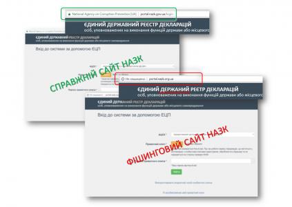 Обнаружен фишинговый сайт для кражи данных декларантов НАПК