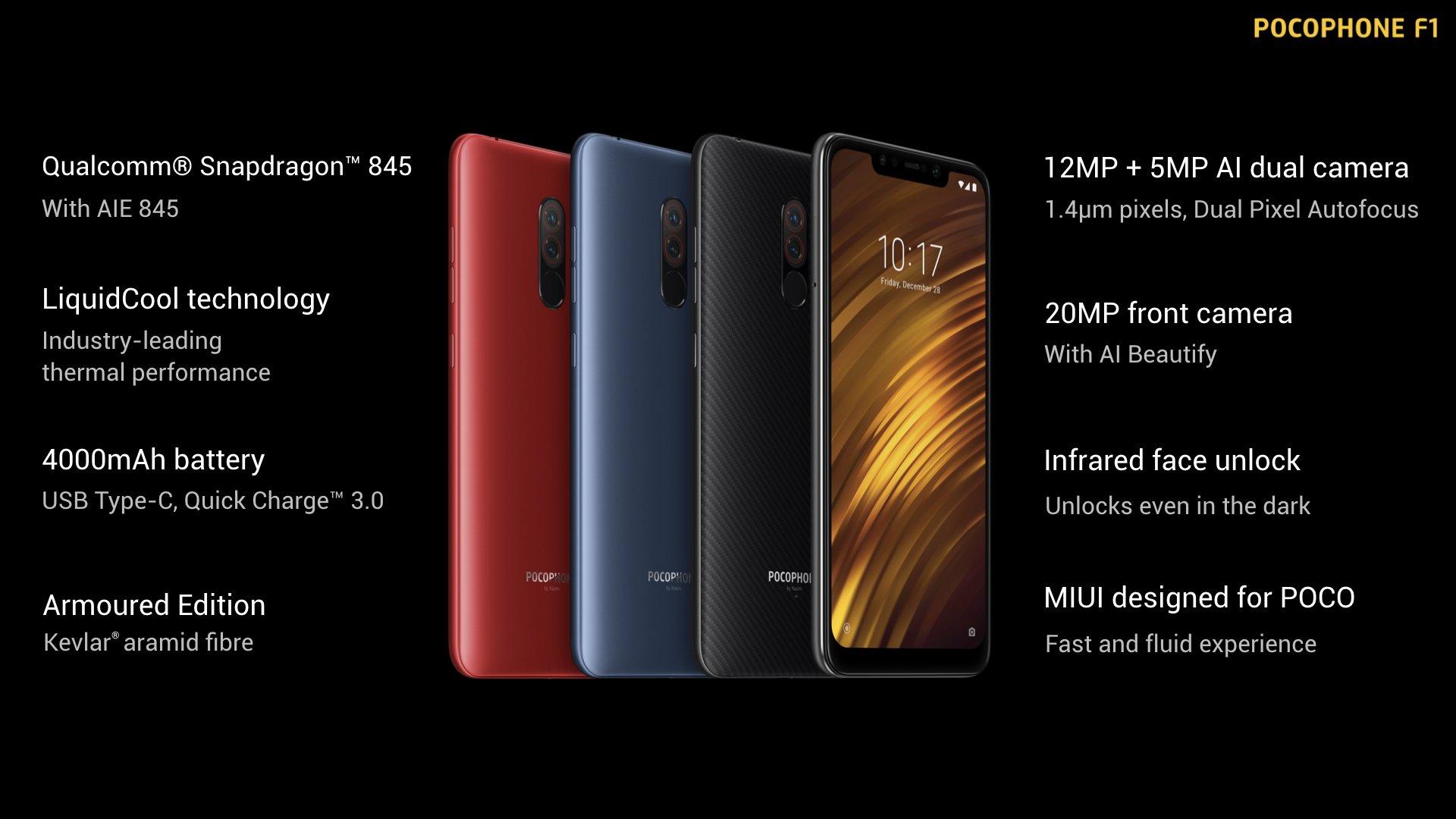 В Украине дешевый флагман Xiaomi Pocophone F1 можно будет купить с 5 сентября по цене от 10999 грн