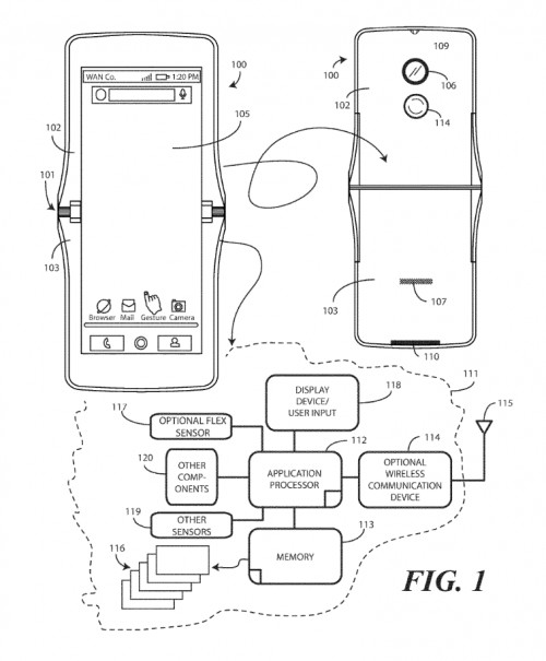 Эскизы дают представление, как может выглядеть новый Motorola Razr со сгибающимся дисплеем