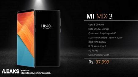 Обновлено: На новом изображении у смартфона Xiaomi Mi Mix 3 видна широкая рамка над экраном