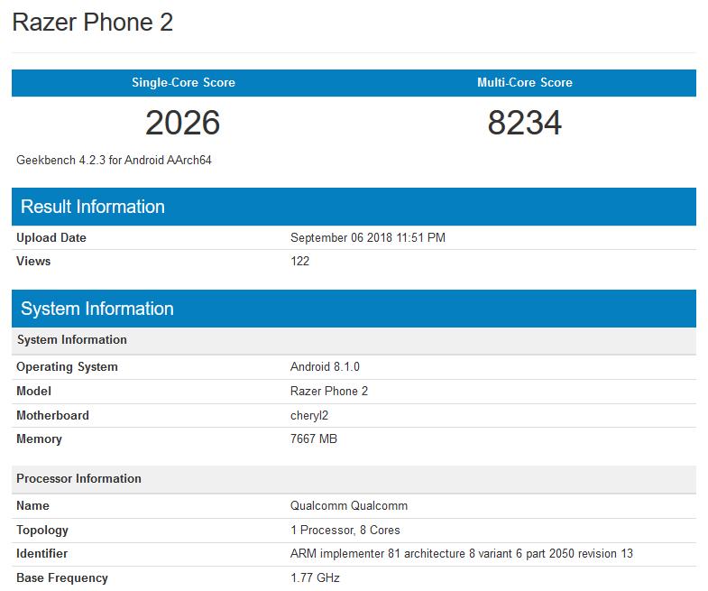 GeekBench раскрыл характеристики игрового Razer Phone 2-го поколения
